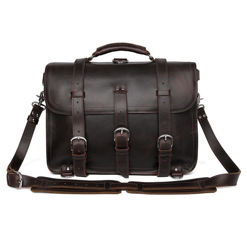 "7072R-1 100% บ้าม้าหนังผู้ชายกระเป๋าเป้สะพายหลังแล็ปท็อปกระเป๋า DispatchTravel กระเป๋าขนาดใหญ่ 16.5 """