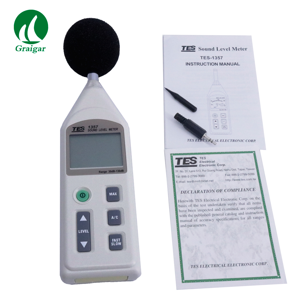 High Precision Digital Sound Level Meter TES-1357 Measurement Frequency Range 31.5 Hz to 8KHz