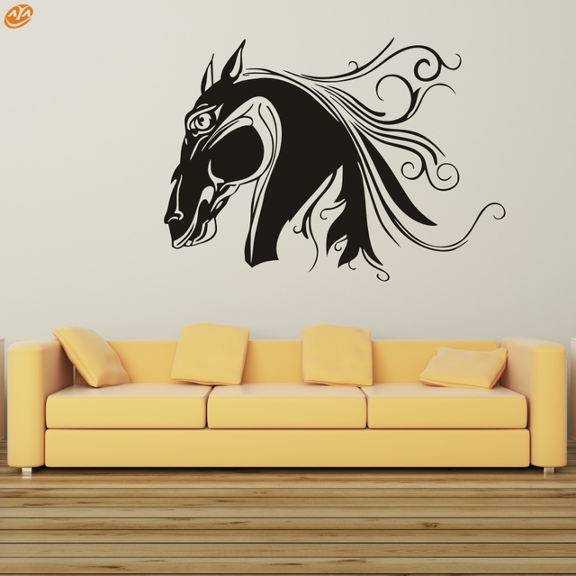 Wall Art AYA DIY Wall Decals, Horse Head Sticker Type PVC Decor M59*42cm/L79*56cm for livingroom kidsroom-in Wall Stickers from Home & Garden on ...