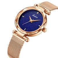 BIDEN Fashion Ladies Watch Wrist Women Top Brand Stylish Steel strip Bracelet New Quartz Woman starry sky Wrist For Gold Watches
