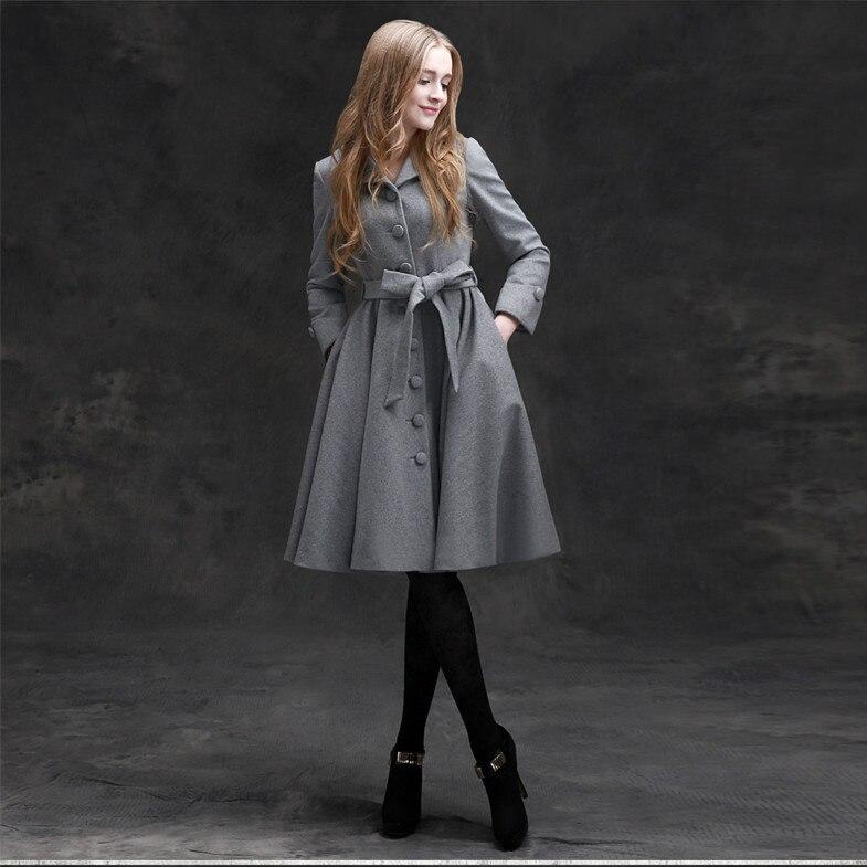4834c49bc352d 10 winter women vintage 50s Audrey Hepburn gray wool woolen long swing coat  coats plus size jacket abrigos de mujer elegantes-in Wool   Blends from  Women s ...