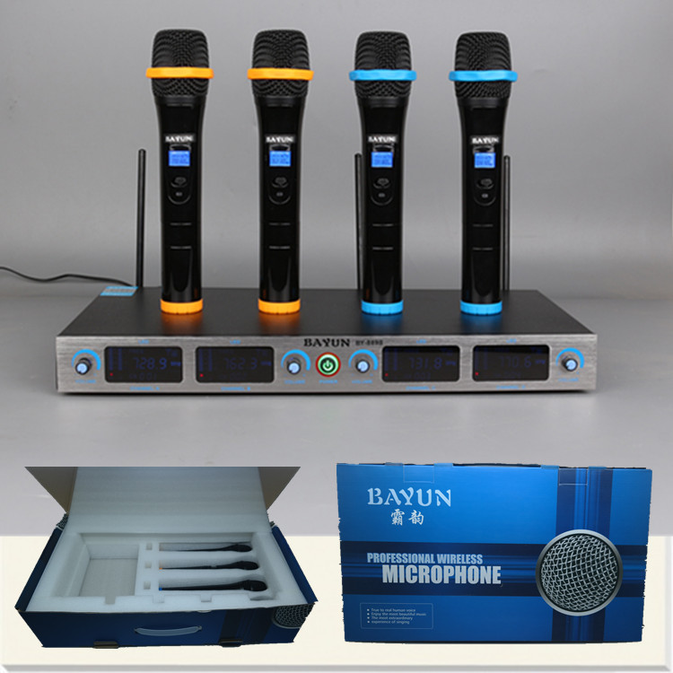 4 Channels Handheld Wireless Microphone for Stage Performance, Teaching, Home Singing, Church