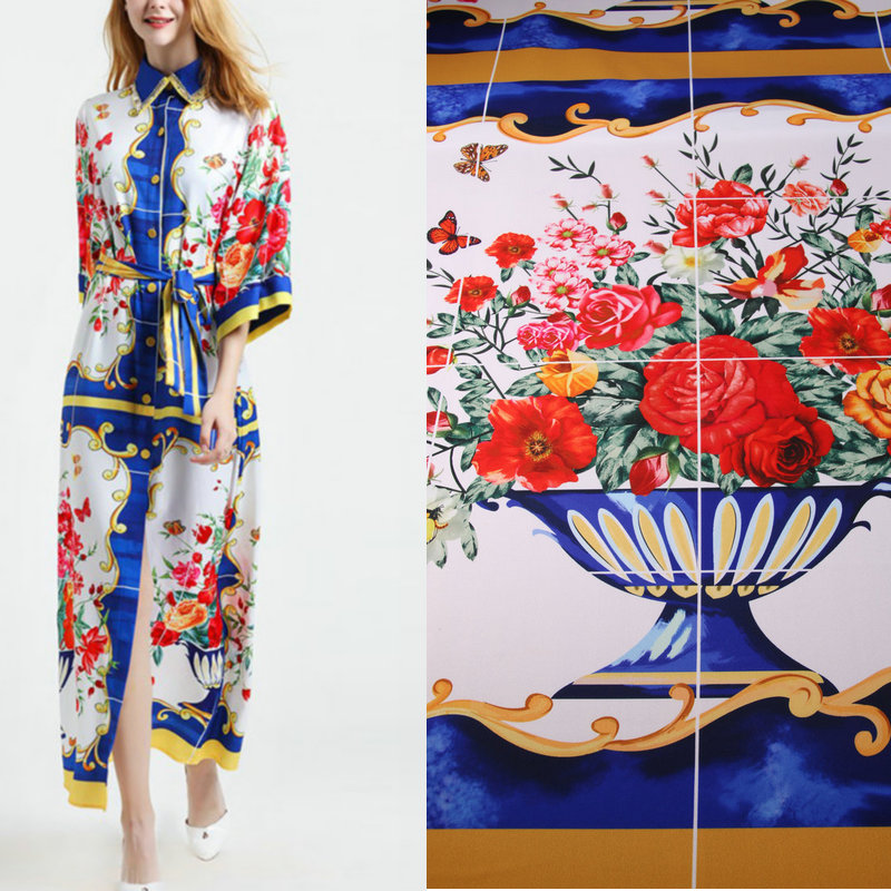 blue color flowers linen fabric, blue majolica printed CADY fabric for summer and Autumn,women daily dress cady fabric&clothingblue color flowers linen fabric, blue majolica printed CADY fabric for summer and Autumn,women daily dress cady fabric&clothing
