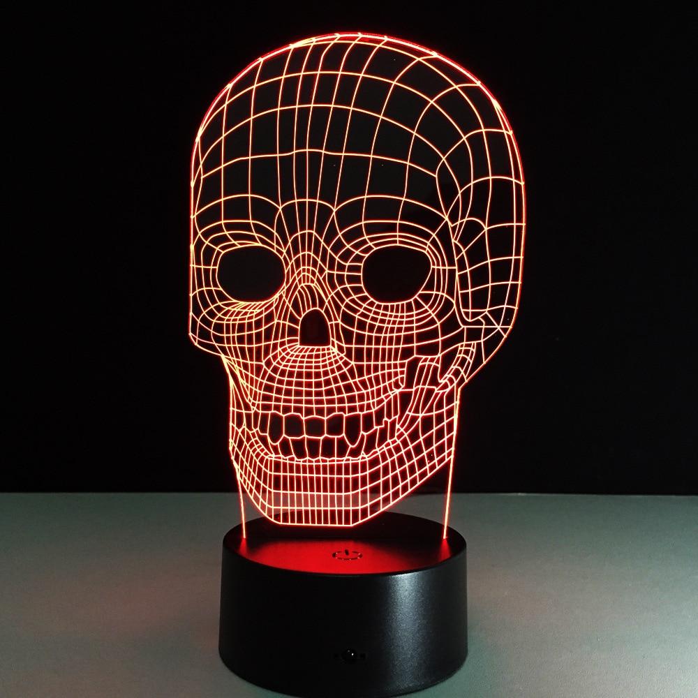1 PZ 3D Illusion Cranio Lampada Colorata Acrilico HA CONDOTTO LA ...