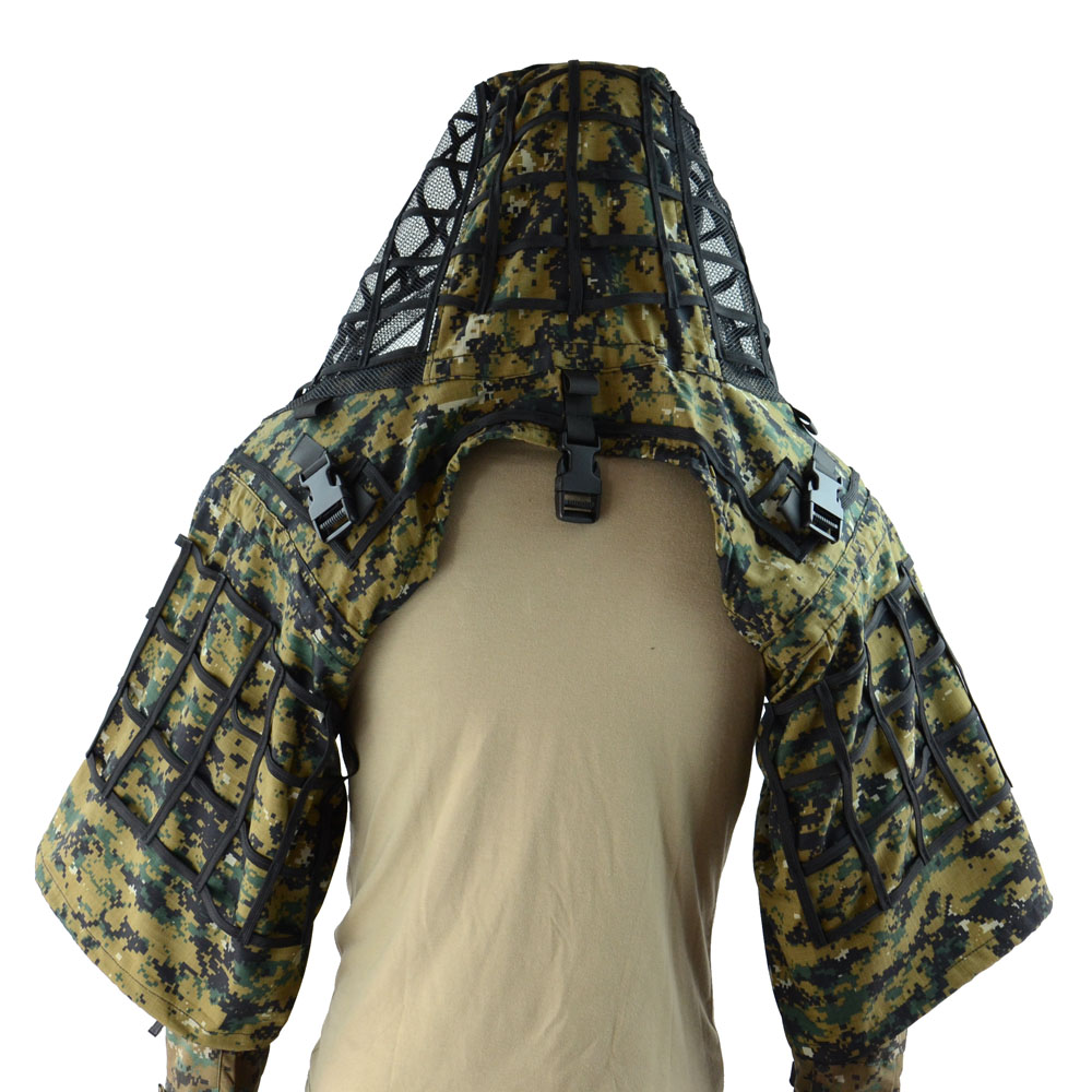 TTGTACTICAL Sniper Ghillie capuche Camouflage Ghillie costume Base tactique Sniper manteau Viper hottes, chasse Ghillie Base - 6