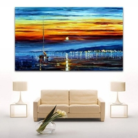Modern 100% New Hand painted Canvas Oil Painting Drifting Boat On Dust Sea Wall Art Picture For Office Home Decor