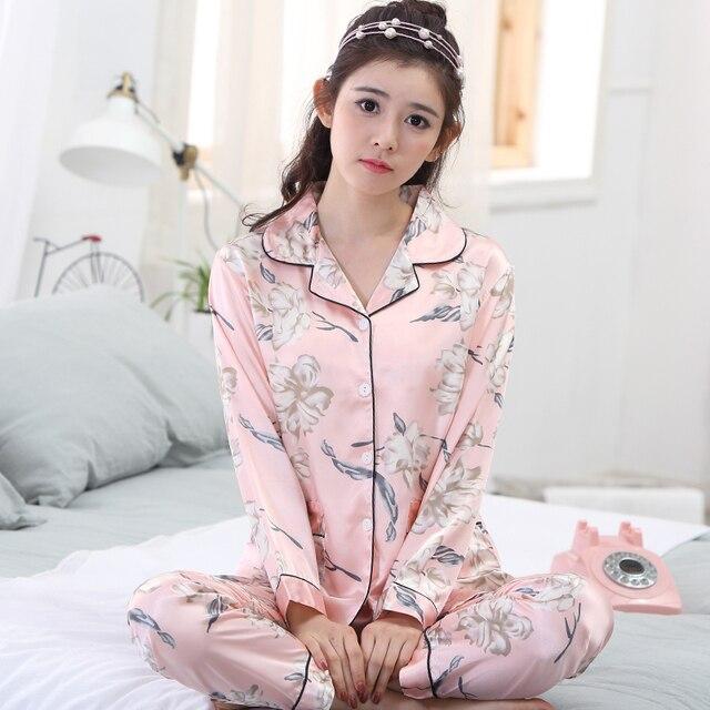 2018 Spring Summer Autumn Silk Women Pajamas Sets of Sleepcoat   Sleep  Pants Lady Nightdress Female Home Clothes Plus Size 3XL 3ae093fd8