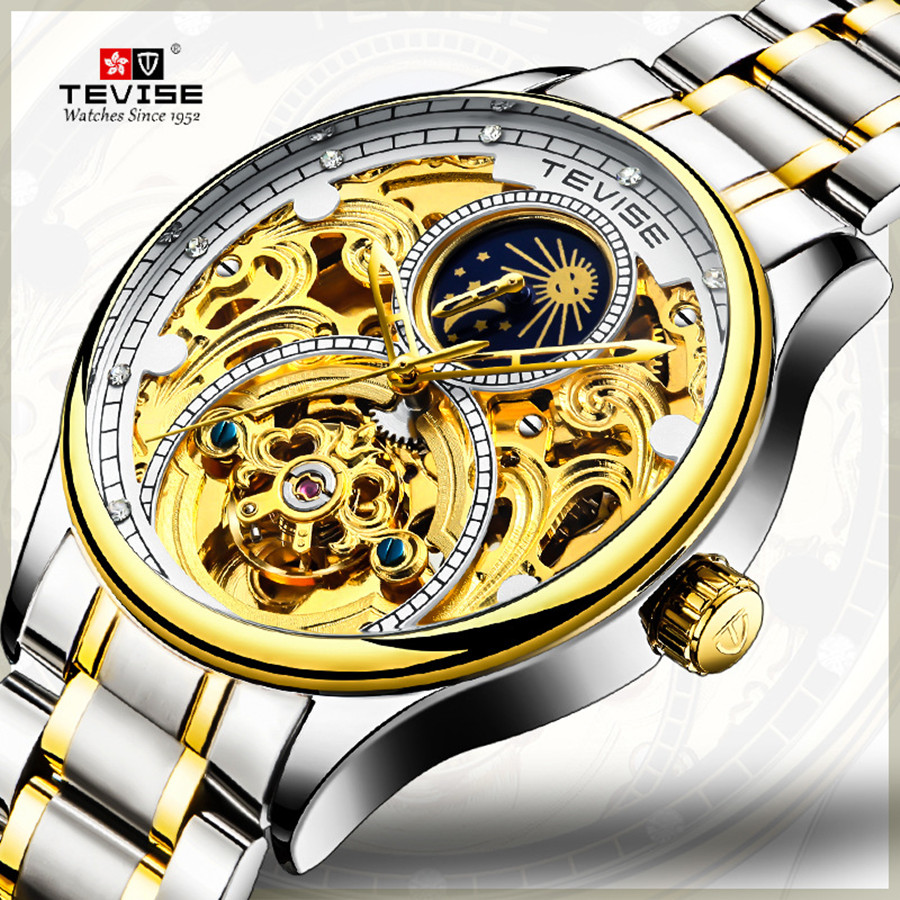 Brand TEVISE Luxury Tourbillon Automatic Mechanical Watches Men Self Wind Business Stainless Steel Moon Phase Mens Wristwatches Brand TEVISE Luxury Tourbillon Automatic Mechanical Watches Men Self Wind Business Stainless Steel Moon Phase Mens Wristwatches