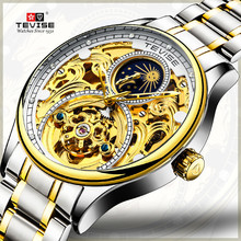 Brand TEVISE Luxury Tourbillon Automatic Mechanical Watches Men Self Wind Business Stainless Steel Moon Phase Mens Wristwatches цена