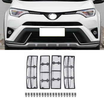Car STAINLESS STEEL Front Grill Guard Grille Insect Screen For Toyota RAV4 2016 2017 2018 Accessories  grille