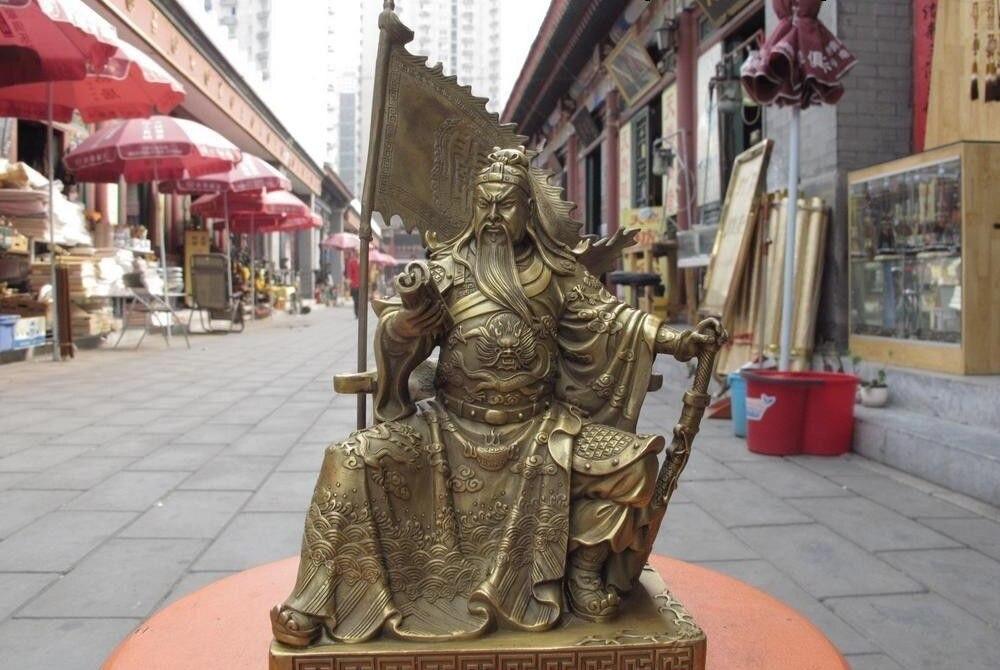 """12/""""H China dragon guangong guanyu General warrior Hero god statue"""