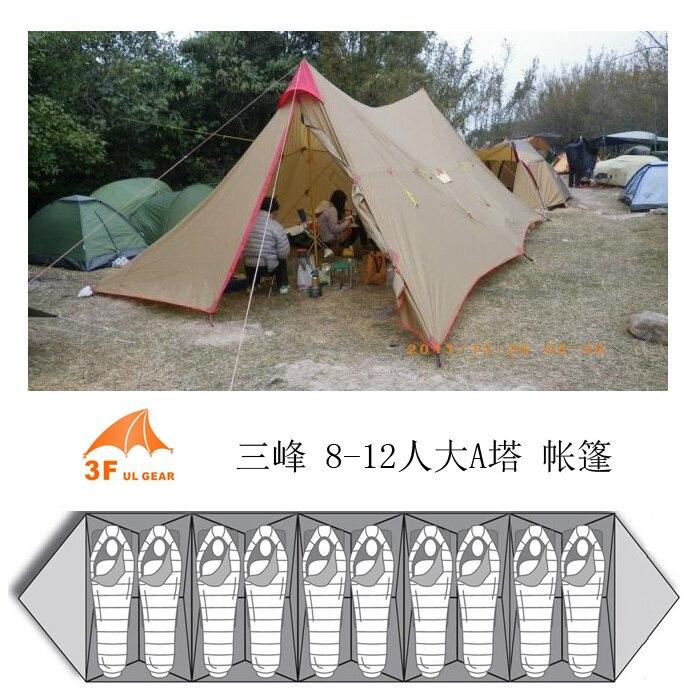 3F UL Vitesse Un Tour 8-12persons 7*4 m professionnel soleil abri auvent auvent tarp camping en plein air tente de secours sans bâtons