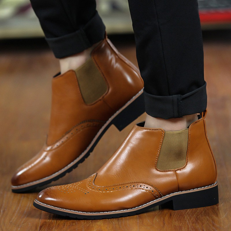 LOVE Spring Autumn Men\'s Chelsea Boots Casual Round Toe Brogue Leather Boots For Men Ankle Boots Square Heel Dress Shoes F107 (21)