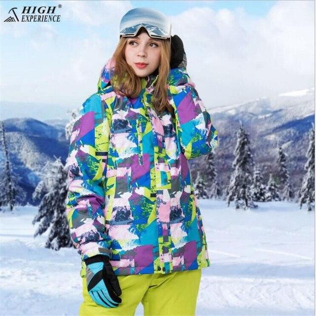 HIGH EXPERIENCE Для женщин лыжная куртка Сноуборд зима Костюмы Термальность Лыжный Спорт Спортивная одежда ветрозащитные Водонепроницаемый Женская куртка теплая