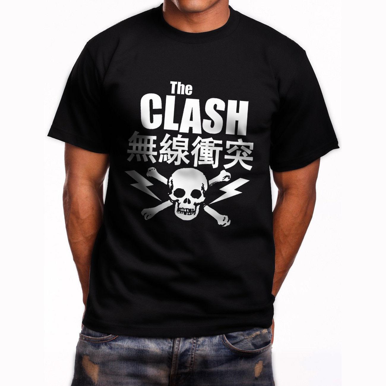 THE CLASH JAPANESE TOUR <font><b>SKULL</b></font> TEXT Mens Black <font><b>T-Shirt</b></font> Size S-3XL ROCK//PUNK/<font><b>ICON</b></font> Summer Short Sleeves Cotton Fashion t Shirt