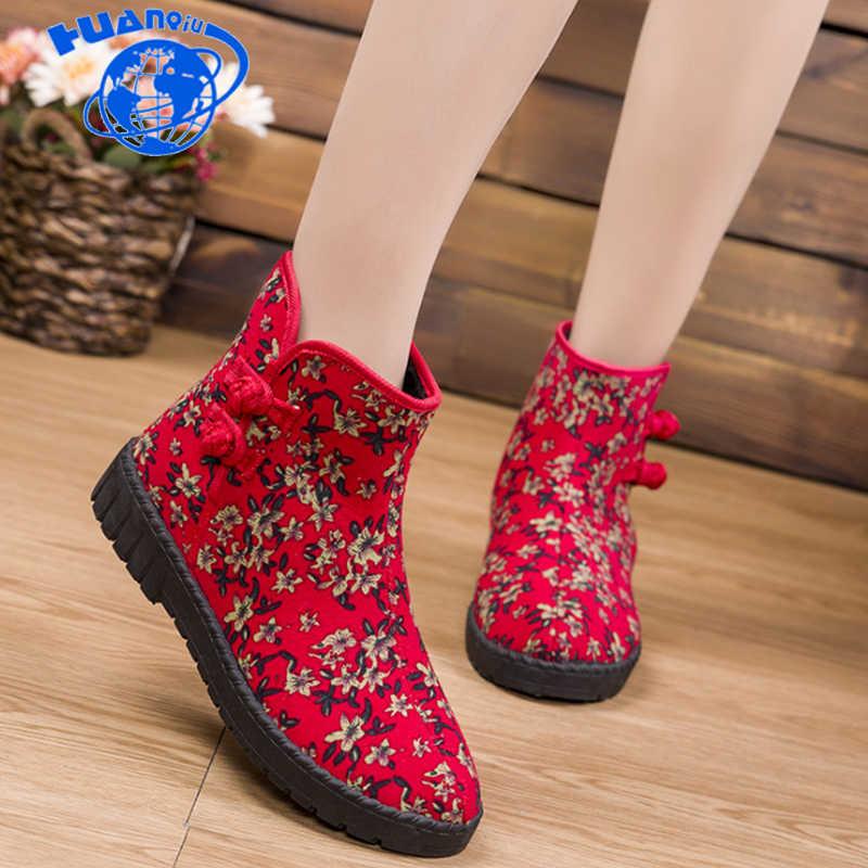 HUANQIU 2018 sonbahar/kış yeni Yüksek Üst kadın ayakkabı çiçek çizmeler artı kadife sıcak ev açık ayakkabı ulusal kar çizmeler ZLL629
