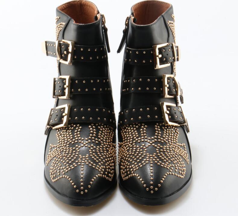 Metal moda Fivela Ankle Boots Mulheres De Couro Cravejado pontas strass Toe tornozelo fivela plana botas fotos reais - 4