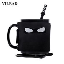 VILEAD Creative Ninja Mug Ceramic Coffee Fashion Porcelain Breakfast Milk with Pad Spoon Office Handgrip Water Cup