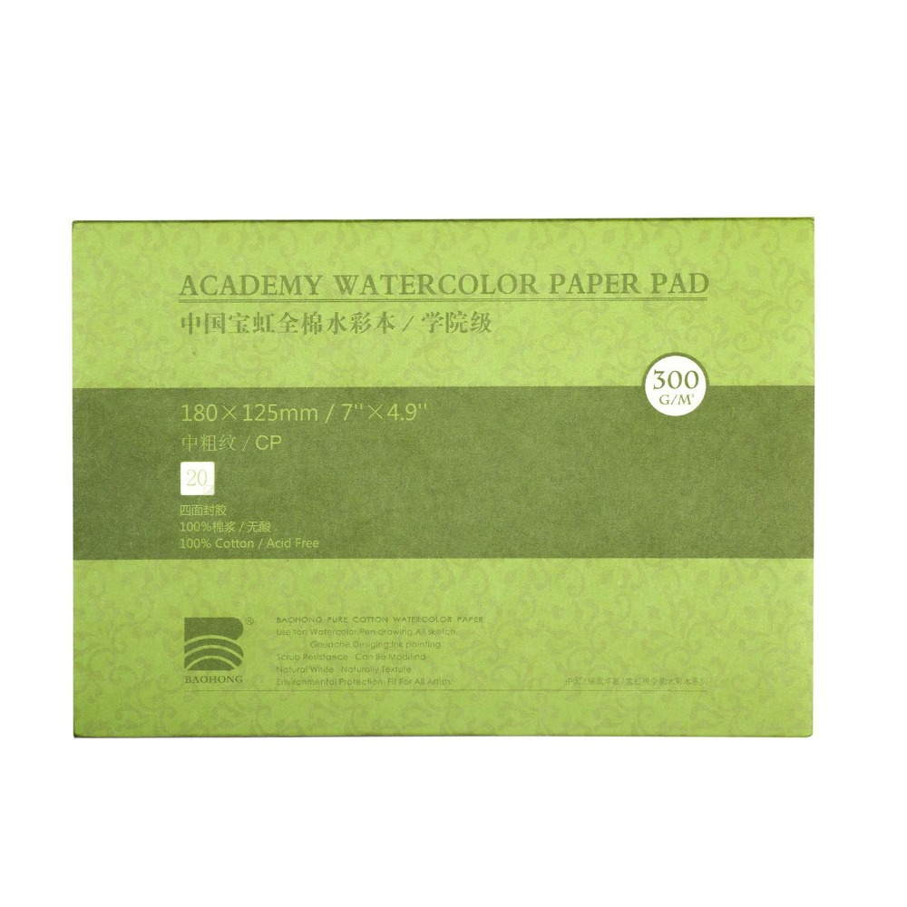 Professional Cotton Watercolor Paper Textured/Smooth Surface Watercolor Pad, 140lb/300gsm, 20 Sheets, Art Supplies