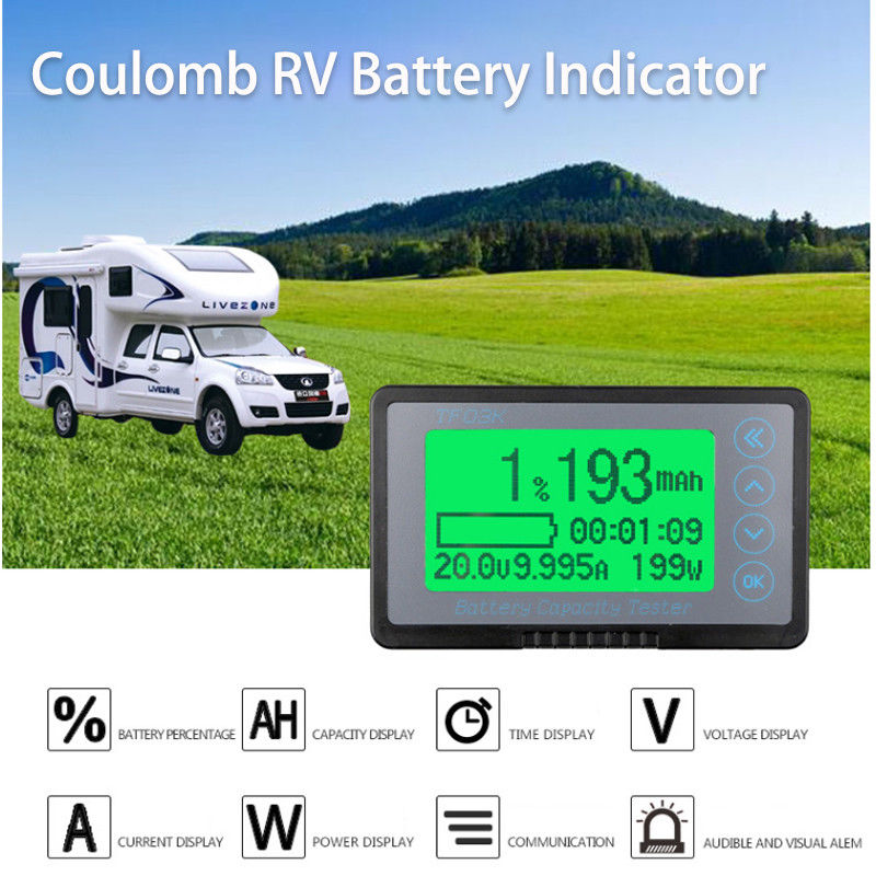 DC 10-120v 50A Battery Monitor digital coulomb meter POWER Indicator CAR RV Remaining Capacity lead-acid Li-ion lithium 12v 24v DC 10-120v 50A Battery Monitor digital coulomb meter POWER Indicator CAR RV Remaining Capacity lead-acid Li-ion lithium 12v 24v