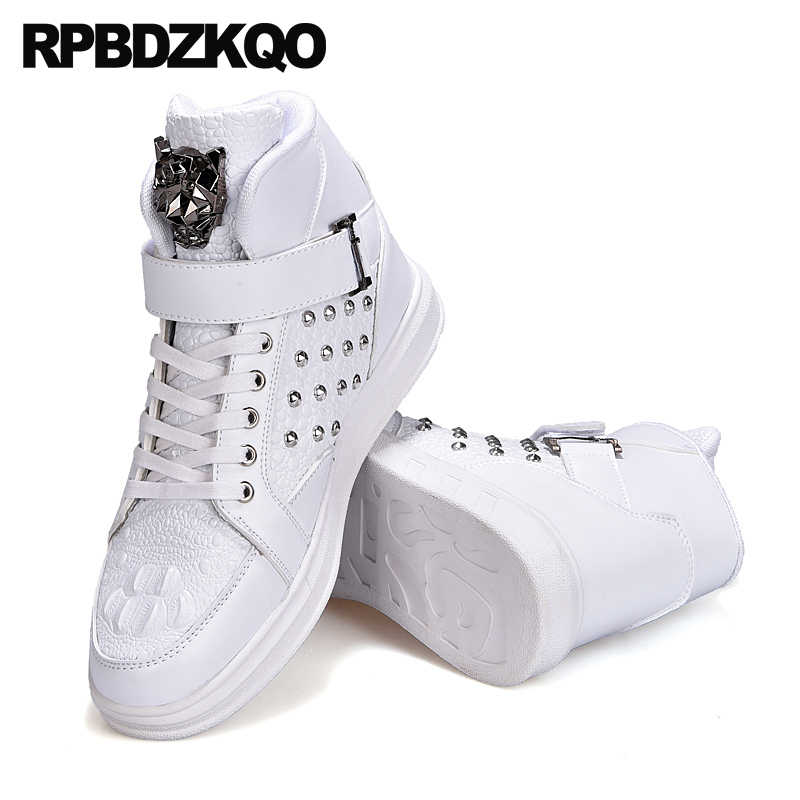 Detail Feedback Questions about White Comfort Men Shoes Casual High Top  Rubber Elevator Skate Spring Sneakers New Fashion Trainers 2018 Lace Up  Rivet Flats ... 366e74cd25a3