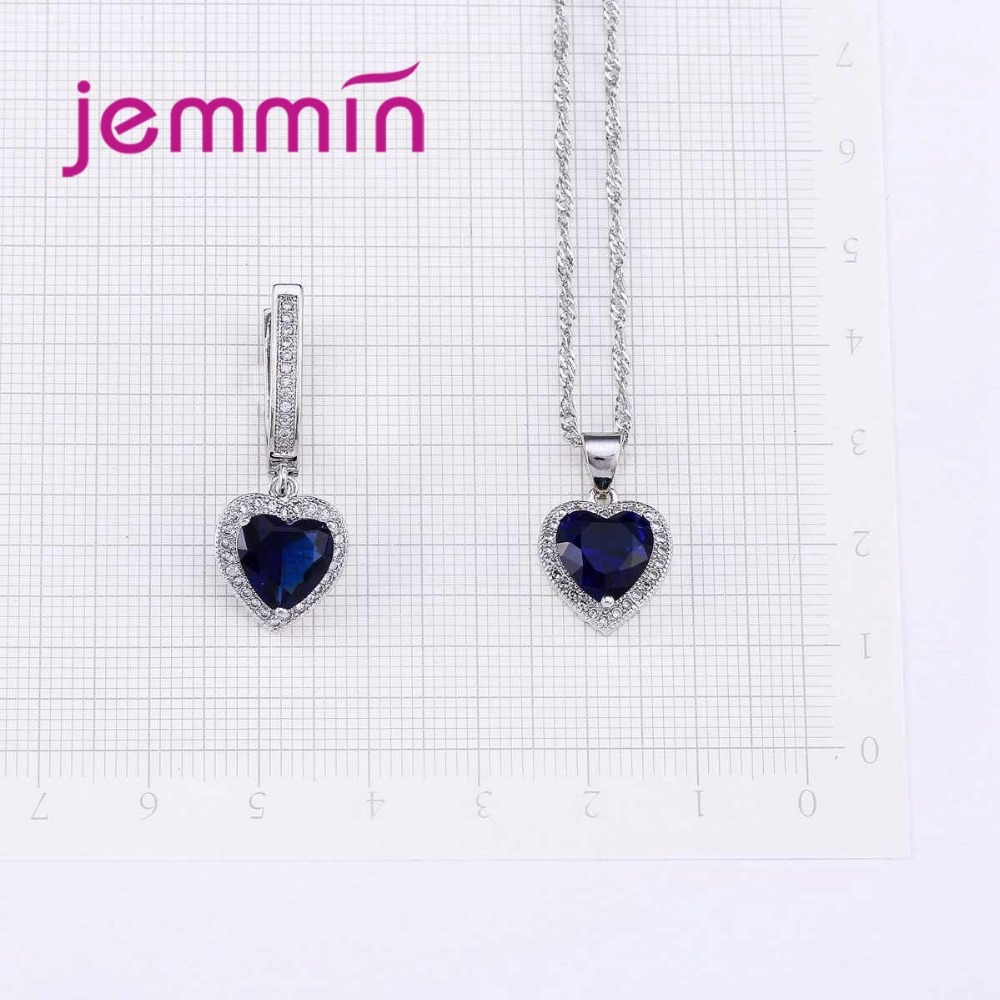HTB1R. JXMbHK1JjSszdq6AIyVXal Hot Sale Heart Shape Bule Crystal 925 Sterling Silver Necklace And Earrings Set For Women Female Party Engagement