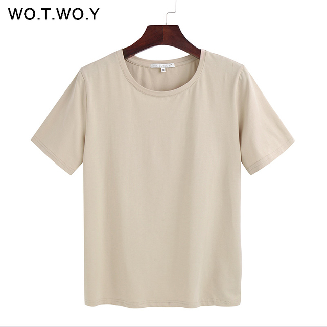 WOTWOY 2018 Summer Cotton T Shirt Women Loose Style Solid Tee Shirt Female Short Sleeve Top Tees O-Neck T-shirt Women 12 Colors T-Shirts