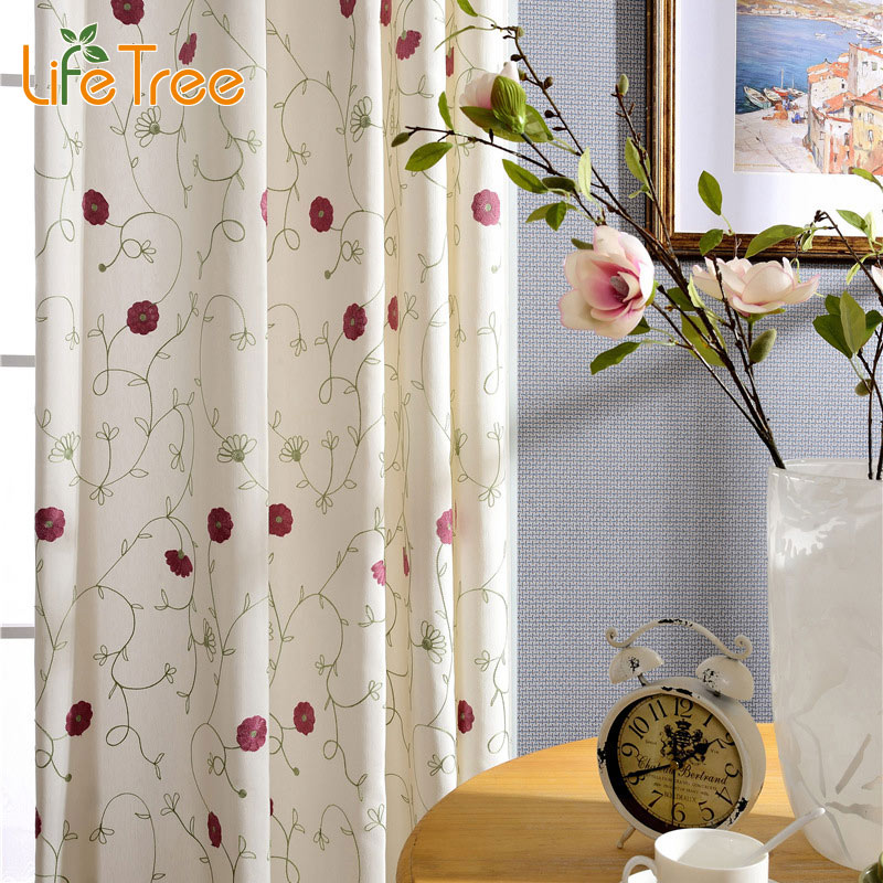 Blue red flowers embroidered pastoral curtains for bedroom for Romantische gordijnen
