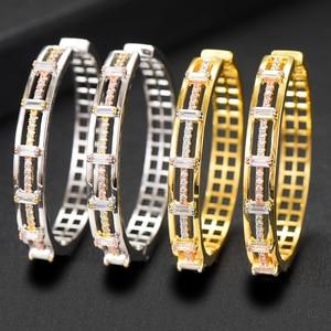 GODKI Роскошные Полые Цветы кубического циркония массивные большие кольца серьги для женщин свадебные Дубай круглые серьги-кольца