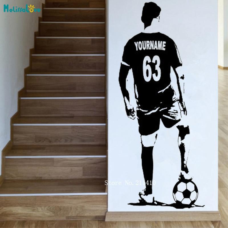Custom Jersey Naam en Nummer Voetbal Atleet Muursticker Home Decor Voetbal Speler Vinyl Declas Kids Jongen Kamer Decals YT1089 1