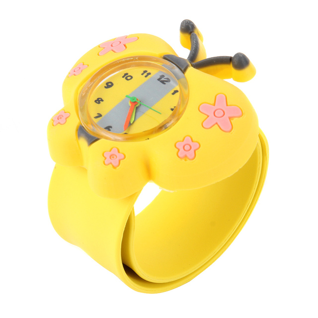 Digital Slap Watch Cute Butterfly Slap Watches for Kids Yellow LXH