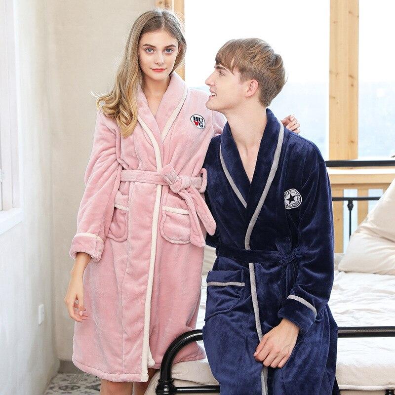 Coral Fleece Thick Flannel Couples Bathrobe Winter Autumn Long-sleeved Home  Service Women and Men Kimono Robe Nightwear Pajamas 4c189c969