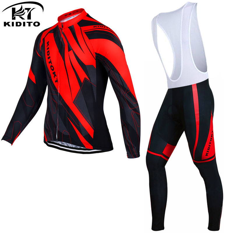 ФОТО KIDITOKT Winter Thermal Fleece Cycling Jerseys Set Long Sleeve Bike Wear Bicycle Clothing Ropa Ciclismo Invierno 2017