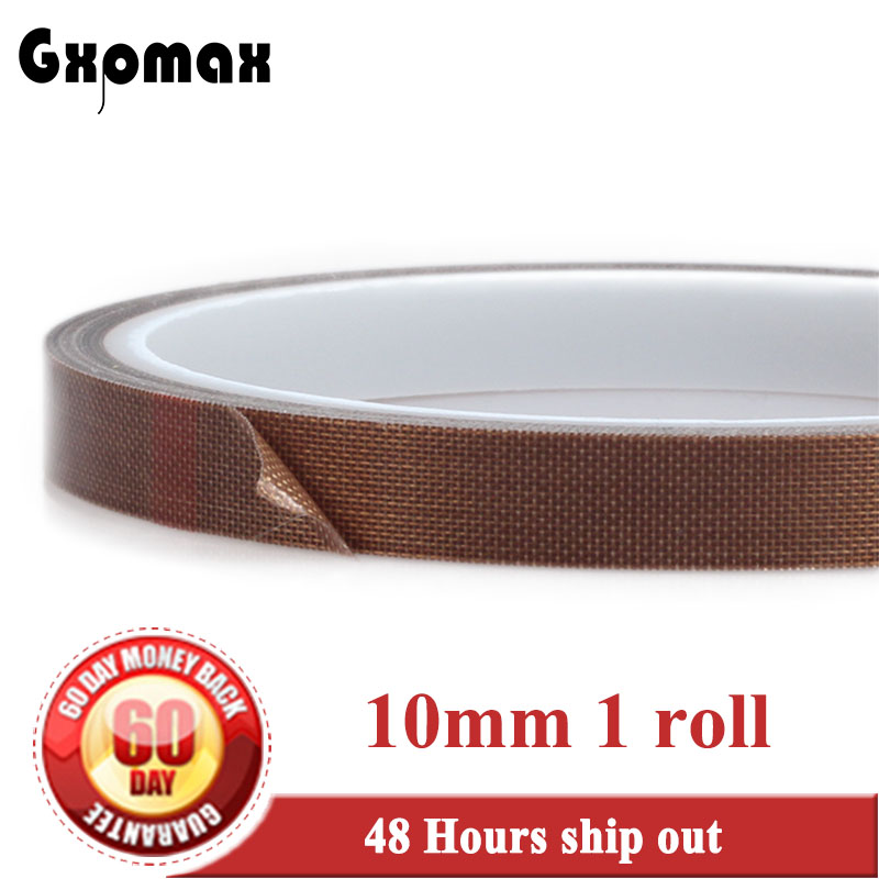 0.13mm thickness 10mm X 10m PTFE High Temperature Resistant Teflon Adhesive Cloth Tape 19mm 10m 0 13mm thick ptfe high temperature resist teflon tape insulating soldering cloth hot seal pads gasket