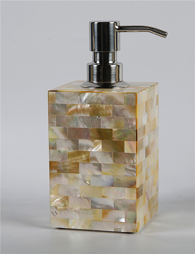 Golden Mother Of Pearl Hand Made Soap Dispenser Home Hotel Bathroom Set Bathroom Accessories Sets Aliexpress