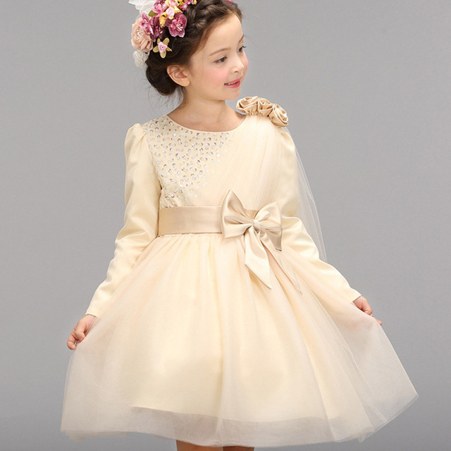 Aliexpress.com : Buy Girl Lace Tutu Dress Kids Long Sleeve Bow ...