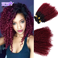 Красный Вьющиеся Weave Бургундия Вьющиеся Бразильские Волосы Курчавые Вьющиеся Волосы Девственные Бразильские Волосы Ткать Пучки Машина Двойной Уток