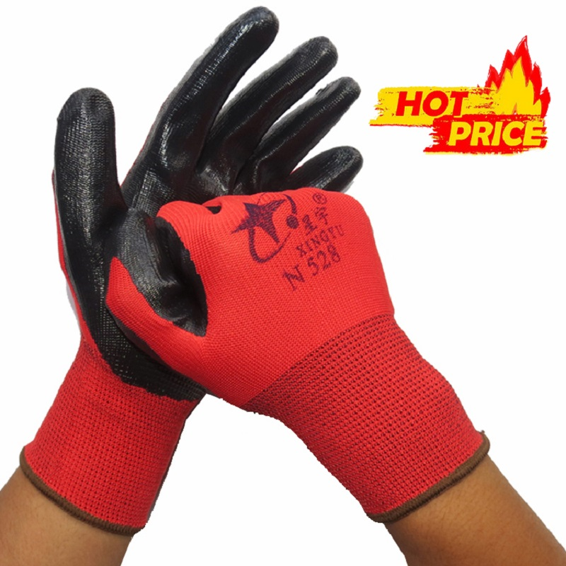 1/5/12 Pairs Nitrile Black Work Gloves Non-slip Wear-resistant Anti-corrosion Soft Latex Mechanical Workshop Protective Gloves