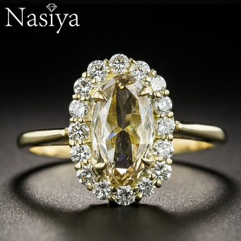 Luxury 925 Sterling Silver Spinel Rings Gold Color Finger Ring Wedding Engagement Cubic Zirconia Rings For Women Wholesale New