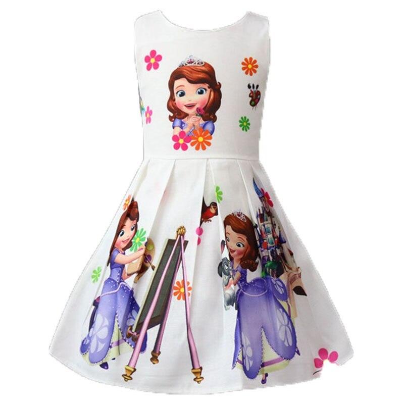 Disney Frozen New Summer Princess Sofia Printed Dresses Girls Xmas Birthday  Party Vestidos Dress Infant Children 9abc9c59ed