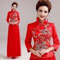 Red Long Cheongsam Dress 2015 Fashion Winter Clothing Chinese Traditional Wedding Qipao Chinese-Style-Dress Qi Pao
