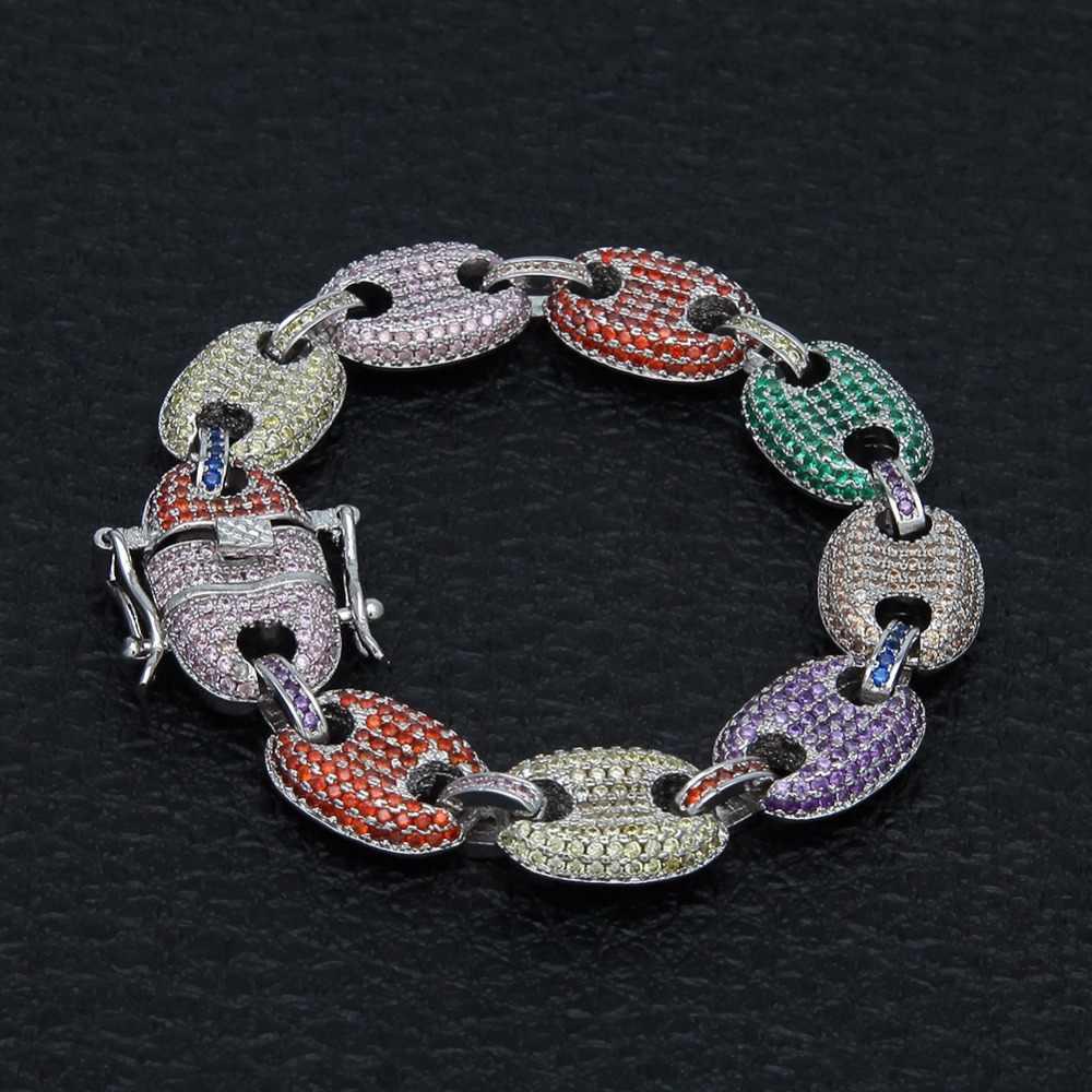 UWIN bransoletka ziarna kawy dmuchany łańcuch morski 13mm Hip hop złoty srebrny Link moda punkowy choker piękna biżuteria 7 cali 8 cali