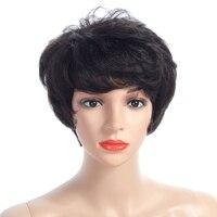 פאות קצרות שיער אדם רמי פרואני מכונה גל גוף ללא תחרה פאות שיער אדם לנשים צבע טבעי 10 ''מוכרים על ידי NAYOO