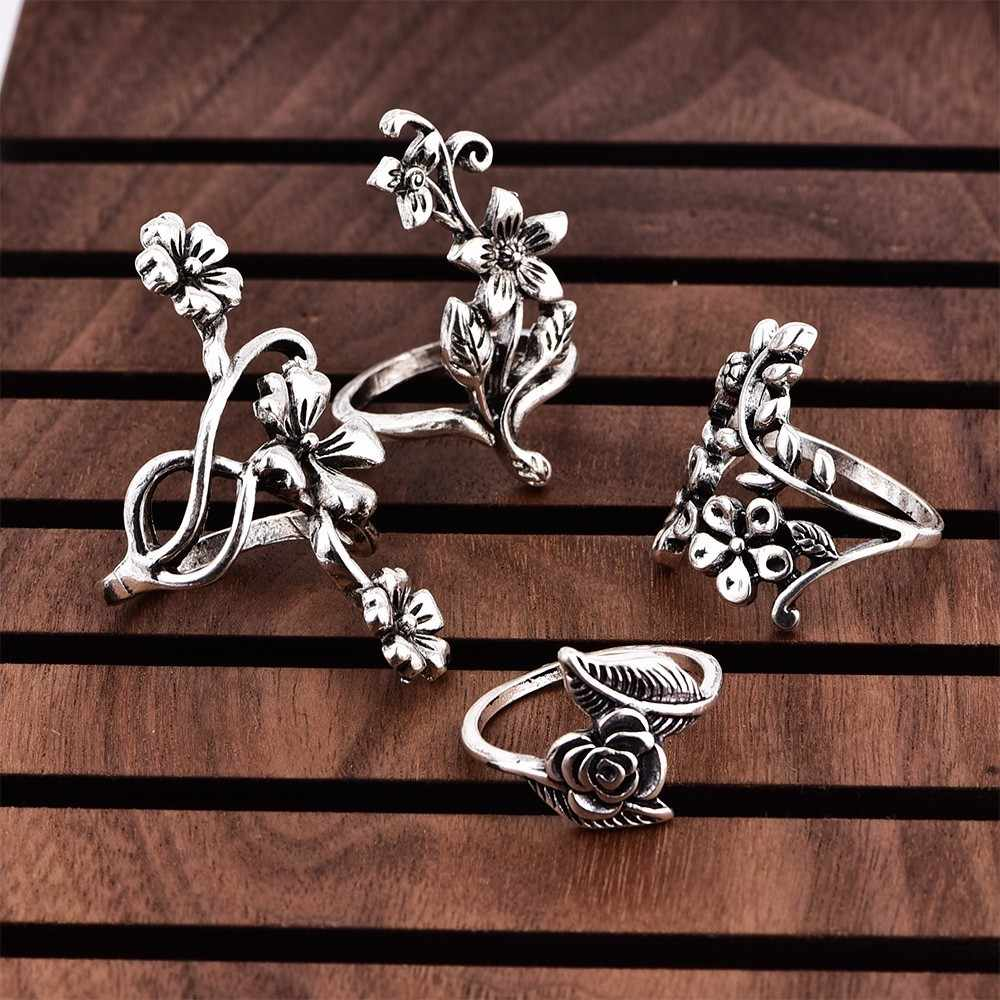 Fashion Vintage Hollow Flower Ring Sets For Women Girl Joyme Engagement Ring Bijoux