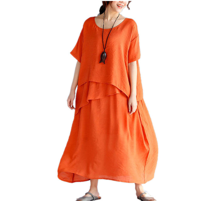 7a81c40160 Clobee Summer Dresses Tunic Femme Oversized Cotton Linen Beach Dress  Vestidos Largos De Verano sundress large