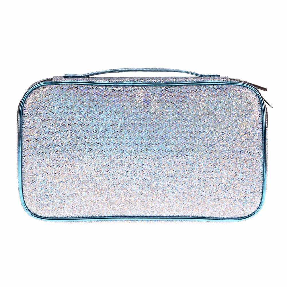 ポータブル女性の化粧ポーチシャイニング旅行ハンドバッグ女性化粧ブラシ収納ポーチジッパー主催ケース JIU55