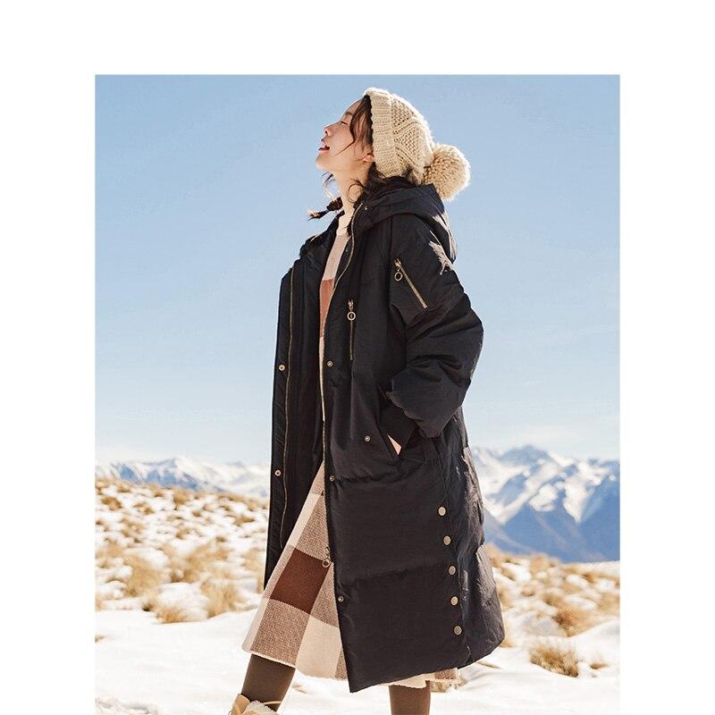 잉먼 2018 Winter Hoodies 분할 Loose Style 긴 큰 Keep Warm Wind Proof Women White Duck Down Coat-에서다운 코트부터 여성 의류 의  그룹 1
