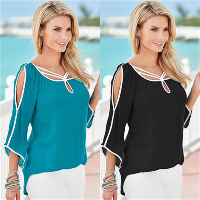 women patchwork knitted elegant top ladies black off the shoulder