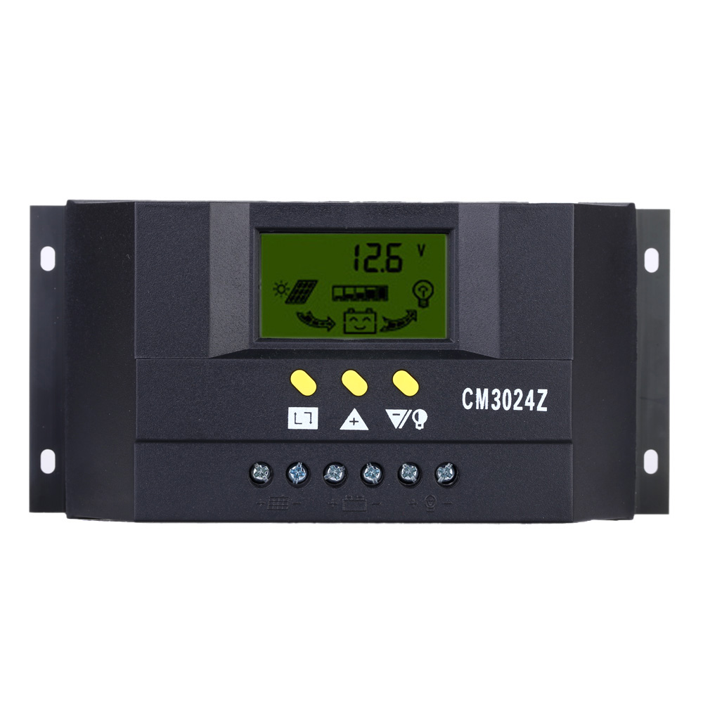 30A 12V/24V Solar Charge Controller PWM Charging LCD Auto Regulator Battery System for Street Lighting Temperature Compensation maylar 30a pwm solar panel charge controller 12v 24v auto battery regulator with lcd display