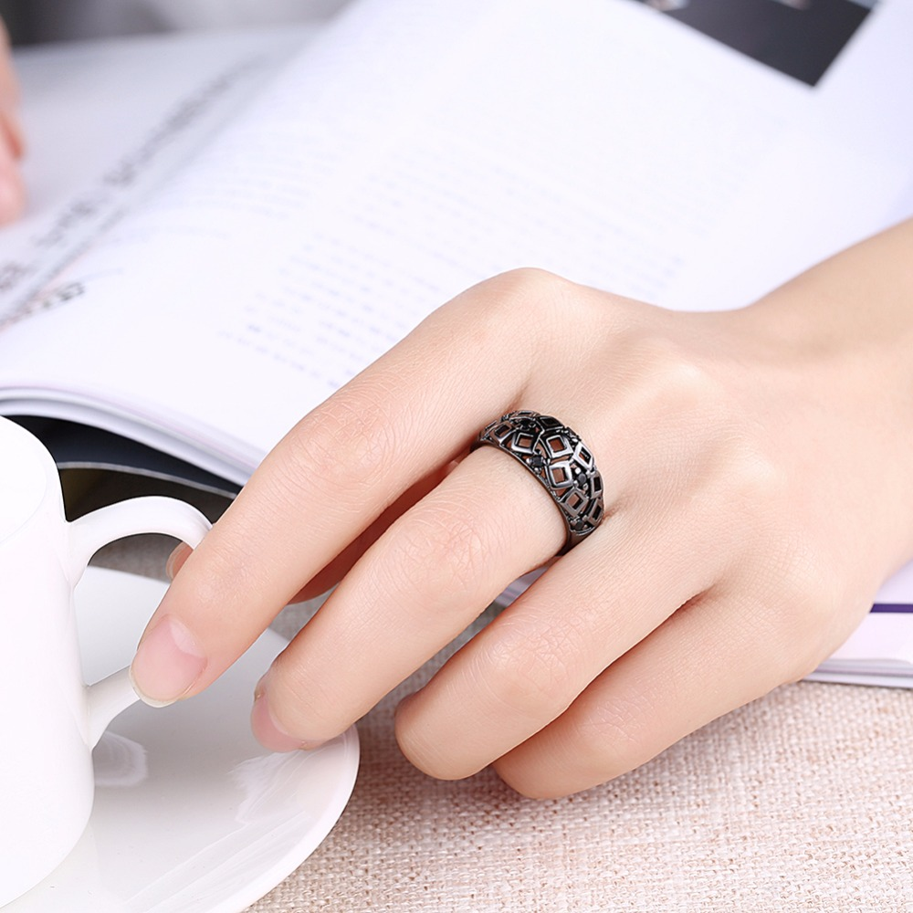 Vintage promise ring purple cz inlay cutout black gold engagement ...